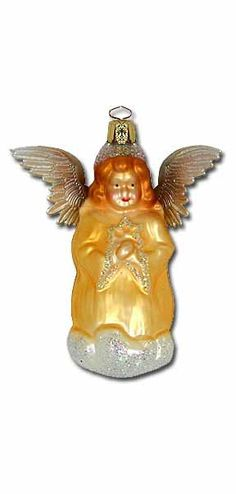 blown glass angel ornament from germany - Angel Decorations