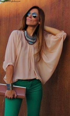 Shop this look on Kaleidoscope (shirt, necklace, pants, bracelet, clutch, sunglasses)  http://kalei.do/Vs3UiDqXxoUTbIek