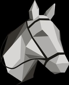 Origami Horse Head Print Geometric Horse by SlaughterHausStudio