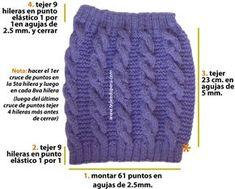 calentadores en dos agujas Crochet Shoes, Crochet Scarves, Knit Crochet, Stitch Patterns, Crochet Patterns, Crochet Neck Warmer, Knit Leg Warmers, Learn To Crochet, Knitting Needles