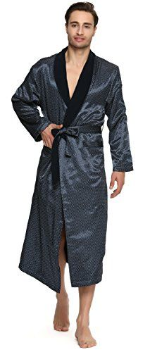 Men's Polyester Satin Polar Fleece Bathrobe Robe Fabric: Bodice:Printed Polyester Satin,Lining:Polar Fleece Two Front Pockets Matching Belt Wash in cool water with like colors. Dry on low heat only. Price:$45.99