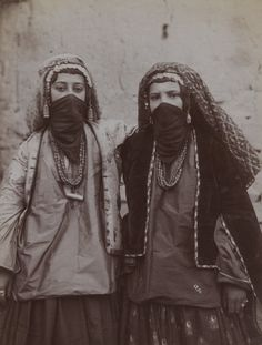 Two Girls In Tribal Costume Entwined, Iran, Late 19th-Early 20th Century