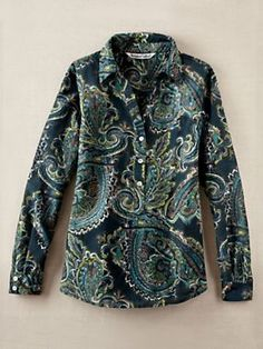 Breezy woven silk cotton layers easily and looks great on its own, too! Pullover blouse is styled with shell buttons on Henley placket and long sleeve cuffs. Box pleat at back, bust darts for gentle shaping, curved hem . #WinterSilks #silk #paisley