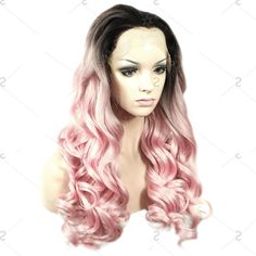 Fashionable Long Lace Front Fluffy Wave Black Ombre Pink Women's Synthetic Wig
