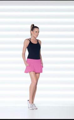 Great black singlet for exercising, fast drying and very comfy. We have a variety of tennis skirts and colours. Tennis Skirts, Cute Skirts, Boy Shorts, Casual Wear, Activewear, Sportswear, Ballet Skirt, Sporty, Comfy