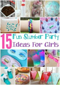Fun Slumber Party Ideas for Girls 15 fun slumber party ideas for girls. So many awesome ideas to throw the perfect birthday fun slumber party ideas for girls. So many awesome ideas to throw the perfect birthday party! Sleepover Birthday Parties, Birthday Party For Teens, Birthday Party Games, Teen Birthday, Slumber Party Crafts, Slumber Party Games, Birthday Crafts, Spa Birthday, Girls Slumber Parties