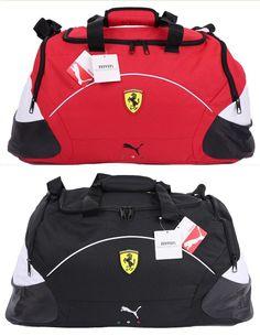 22dea8c41b70 NEW Scuderia Ferrari Puma Team Medium Duffle Travel Shoulder Bag Red Black  NWT