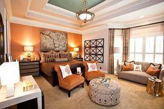 Eclectic Master Bedroom with High ceiling, Burnt orange faux muslin fabric wallpaper, Crown molding, flush light, Carpet Fall Bedroom, Bedroom Decor, Bedroom Retreat, Bedroom Ideas, Bedroom Setup, Design Bedroom, Teen Bedroom, Orange Accent Walls, Grey Carpet Bedroom