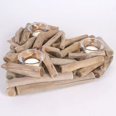 Driftwood Heart Candle Holder