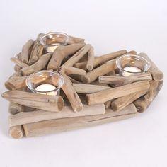 Driftwood Heart Candle Holder