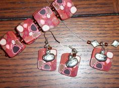 Pink Cane Bracelet, Earrings, and Necklace Polymer Clay