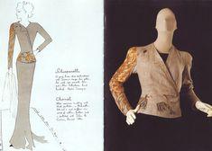 "Schiaparelli's ""Cocteau"" Evening Jacket, Fall 1937. Created by Elsa Schiaparelli and artist Jean Cocteau. Linen, metalic foil, beads, paillettes; embroidered by the House of Lesage. Illustration (left) by Jean Cocteau."