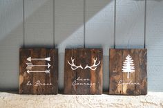 Reclaimed Wood Planked Art - Set of 3 - Rustic Nursery / Woodland - be Brave - have Courage - Explore - Arrows - Antlers - Pine Tree - Kids by DevenieDesigns on Etsy
