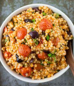 Mediterranean Pearl Couscous Salad (Israeli Couscous) Black Plate 3