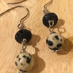 Dainty adorable earrings Black, cream/black spotted, silver extremely light weight dangles Jewelry Earrings