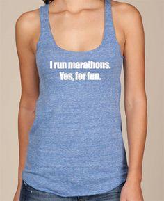 I run marathons Yes for fun. Eco Tank by RunningPoetry on Etsy, $27.00 #running #runchat #runspiration