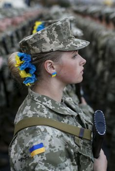 Lovely Ukranian soldier woman