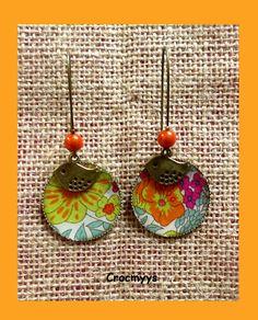 Grandes boucles d'oreilles liberty meadow orange : Boucles d'oreille par crocmyys