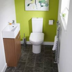 Cubix cloakroom suite with calvados vanity unit, basin tap and short projection toilet