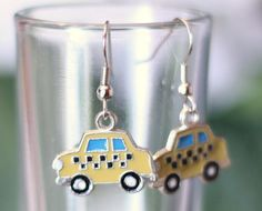 $2.00 NYC Taxi Cab Enamel Charm Earrings - New York - New York City