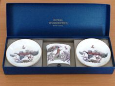 #RoyalWorcester Bone China Smoker or Dresser Set Pheasant Hunt Game Birds MINT