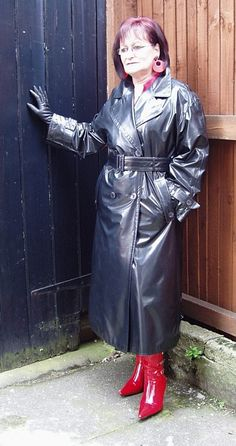 Mature in leather coat