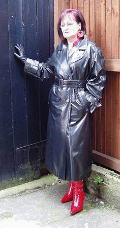 Mature in leather coat