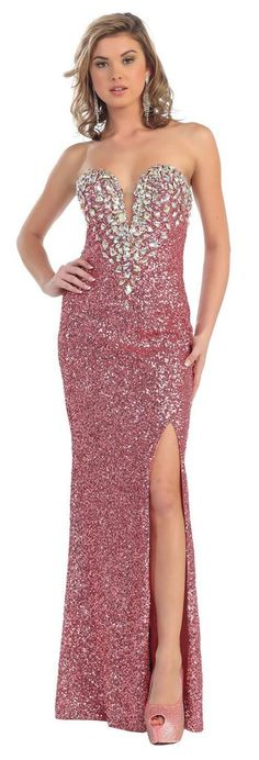 Long Fully Beaded Sequins Prom  Formal Evening Dress - The Dress Outlet - 9