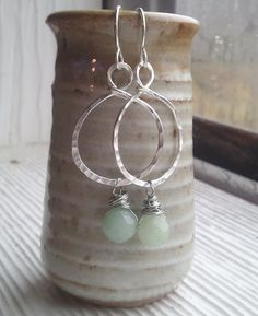 hammered hoops silver hoops. aventurine by RisingDawnBoutique