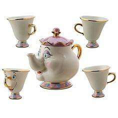 Disney Teaset: Chip, Mrs. Potts and the rest of the teacups.. It's cuteness<3
