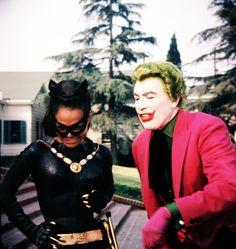 "Eartha Kitt as, ""Catwoman"" and Cesar Romero as, ""The Joker"" on the set of ""Batman"", 1960's."