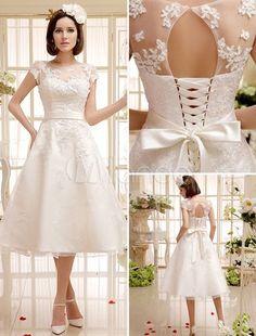 Vestido de noiva curto marfim em renda e cetim com laço na cintura - Milanoo.com: