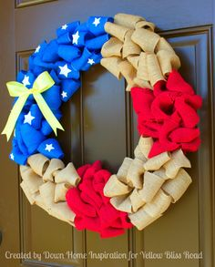 Perfect for Memorial Day and 4th of July!! How to Make a Patriotic Burlap Wreath