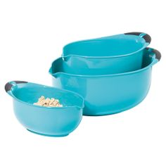 Oval 3 Pc. Mixing Bowl Set, Blue made by Colorful Kitchen $25