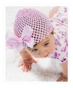 Love this Light Pink Bow Beanie by Blossoms & Buds on #zulily! #zulilyfinds