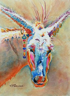 Donkey Art Print of Original Watercolor Painting by TwistofColor, $14.95