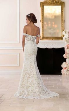 Beautiful Wedding Dresses 6595 Chic Wedding Dress with Off-the-Shoulder Sleeves by Stella York.Beautiful Wedding Dresses 6595 Chic Wedding Dress with Off-the-Shoulder Sleeves by Stella York Chic Wedding Dresses, Popular Wedding Dresses, Lace Wedding Dress, Wedding Gowns With Sleeves, Long Sleeve Wedding, Wedding Attire, Bridal Dresses, Trendy Wedding, Tulle Wedding
