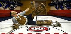 Carey in equipment from Jacques LePlante era :) Hockey Goalie, Hockey Players, Montreal Canadiens, Nhl, First Love, Life, Beauty, First Crush, Puppy Love