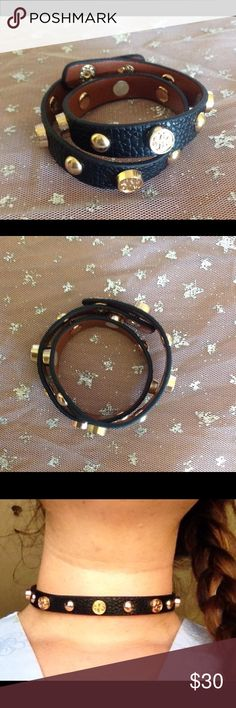 Leather wrap around bracelet or choker Unisex Very cool bracelet! Has crosses on it my friend is modeling it as a choker, this is the last black oneBNWOT Jewelry Bracelets