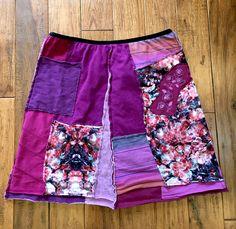 Boho hippie gypsy upcycled tshirt skirt, upcycled clothing, patchwork skirt, eco organic skirt, Boho chic, Upcycled recyled repurposed by Theupcycledcloset on Etsy