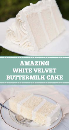 WHITE VELVET BUTTERMILK CAKE White velvet cake gets it's flavor and velvety texture from buttermilk. A moist, tender cake that is great for any special occasion. This recipe makes two round cakes about tall. White Velvet Cakes, White Cakes, Easy Cake Recipes, Dessert Recipes, Vanilla Cake Recipes, Moist Vanilla Cake Recipe From Scratch, White Cake Recipes, Summer Cake Recipes, Summer Cakes