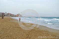 An Empty Beach Except For A Woman Running - Download From Over 27 Million High Quality Stock Photos, Images, Vectors. Sign up for FREE today. Image: 47193248