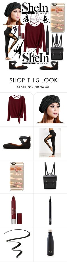 """SheIn: Win! Burgundy Drop Shoulder Criss-Cross Front Tie T-Shirt"" by mandimwpink ❤ liked on Polyvore featuring Karen Studio, Gentle Souls, Casetify, The Cambridge Satchel Company, Revlon, NARS Cosmetics, NYX, S'well and Urban Decay"
