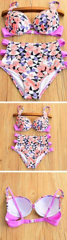 Pink High Waist Strappy Floral Bikini