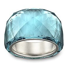 A gorgeous, petite version of Swarovski's iconic Nirvana ring. Beautifully crafted in trendy Indicolite crystal, this silver-plated creation sparkles from all angles. The stunning color lends a glamorous and refreshing note to any outfit.