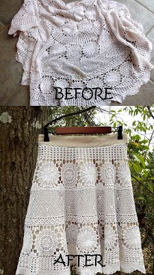 Faux Crocheted Skirt --- If you happen to have a vintage table cloth that has a massive stain, preventing you from actually using it as a table cloth...you can very easily cut out the stain, and turn it into a stylish new skirt.