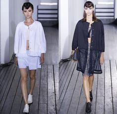 Hache Italy 2014 Spring Summer Womens Runway Collection - New York Fashion Week - Manuela Arcari - Denim Jeans Dress Skirt Wide Leg Trousers...