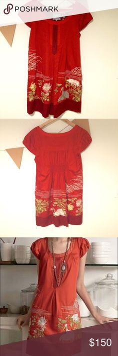 """Floreat Anthropologie Dress, Size 10 Floreat follows the glow of incendiary paprika poplin toward an embroidered aviary, bordered by a silk habotai hem. Pullover styling  Cotton; acetate lining  Dry clean  Regular: 36.25""""L Floreat Dresses Midi"""