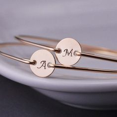 Personalized Bangle Bracelets by georgiedesigns