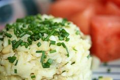 Apple-lavender risotto with Italian sausage